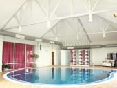 Бесшовный натяжной потолок в бассейне