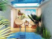 Натяжной потолок в частном бассейне